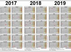 Dreijahreskalender 201720182019 als ExcelVorlagen zum