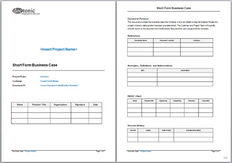 short form business case template project documentation
