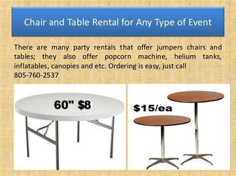 chair and table rental for any type of event