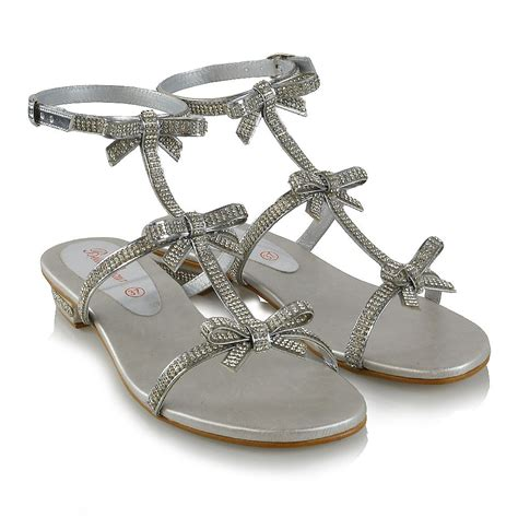 womens flat strappy sandals diamante ladies party sparkly