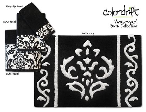 black and white towels bathroom new arabesque bath collection assorted towels rugs 22757