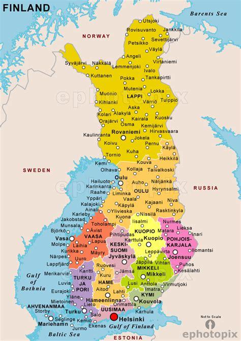 mapa de finlandia fisico politico