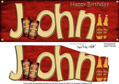 large dl birthday john beer card  decoupage
