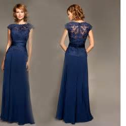 a line floor length chiffon cap sleeves lace sash navy