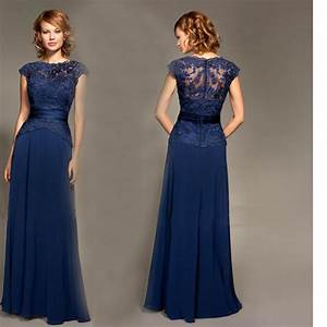 A-line-Floor-length-Chiffon-Cap-Sleeves-Lace-Sash-Navy ...