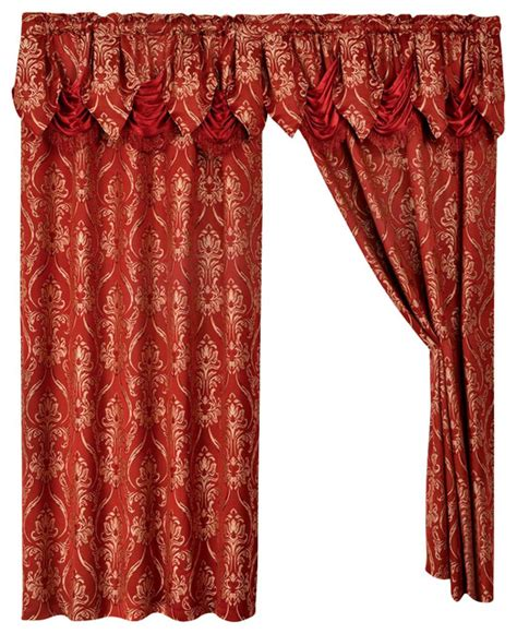 Burgundy Lace Curtains With Attached Valance by 2 Penelopie Curtain Panels With Attached Austrian Valance