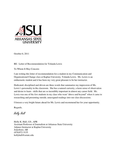 letter  recommendation  yolanda