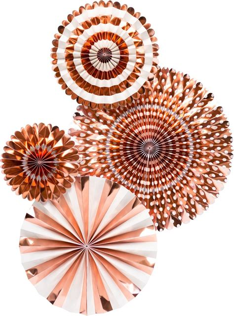 buy paper fans decorating pack rose gold   party