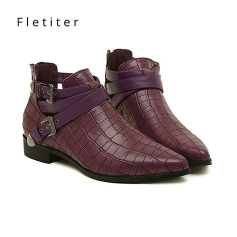 New Women Ankle Boots Spring Autumn Buckle Strap