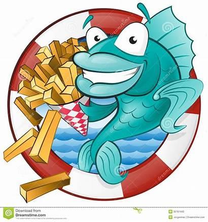 Fish Chips Cartoon Clipart Eating Cod British