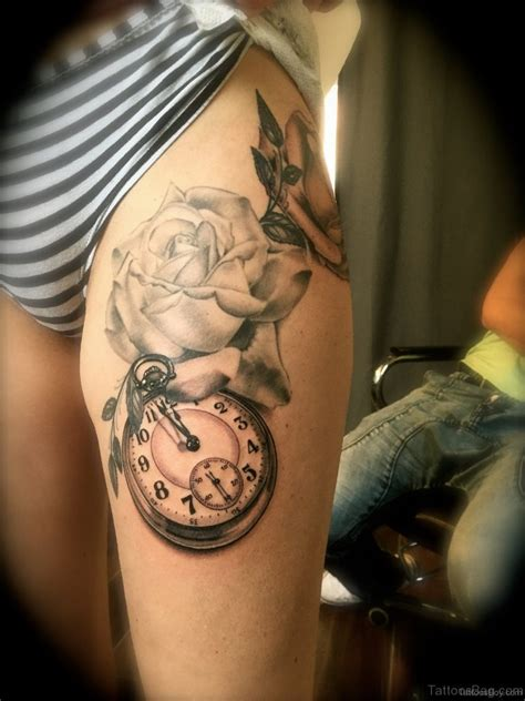 top class clock tattoos  thigh