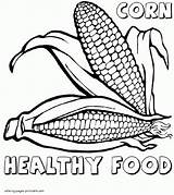 Coloring Pages Corn Printable Food Healthy Print sketch template