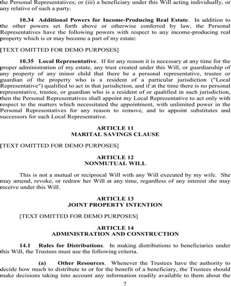 Last Will And Testament Free Template Maryland by Maryland Last Will And Testament Sle For Free