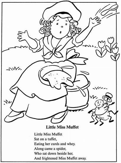 Coloring Muffet Miss Pages Rhymes Preschool Nursery