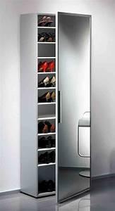 Armoire à Chaussures : functio armoire chaussures avec miroir large argent ~ Teatrodelosmanantiales.com Idées de Décoration