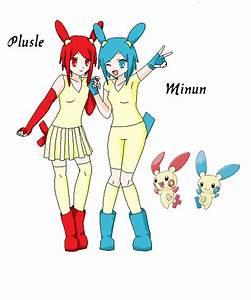 Plusle and Minun Gijinka (Original Design) by Dolphinz514 ...