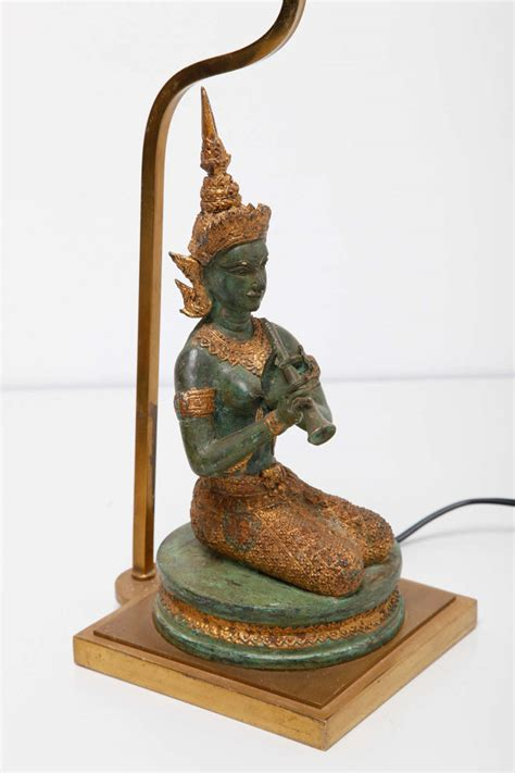 bronze table l set a set of bronze gilded indian goddesses table ls for
