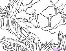 How to Draw a Jungle  Step by Step  Landscapes  Landmarks   Places      Jungle Drawing With Animals