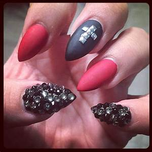 Red And Black Acrylic Nail Designs - Nail Art Ideas