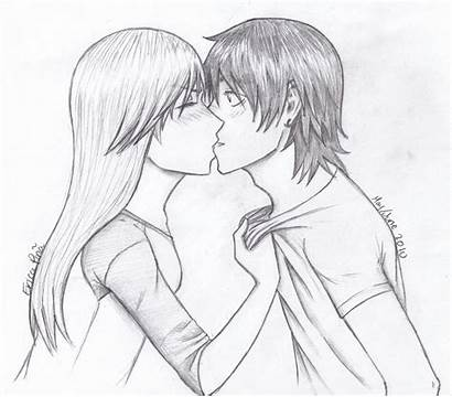 Kissing Kiss Drawing Anime Couple Boy Lips