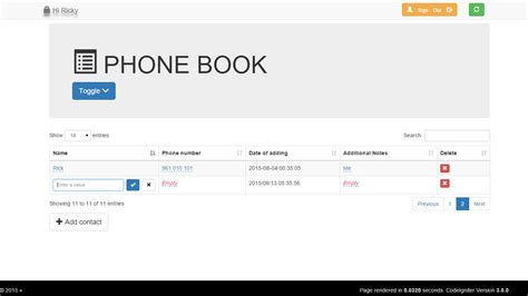 Phone Book With Codeigniter