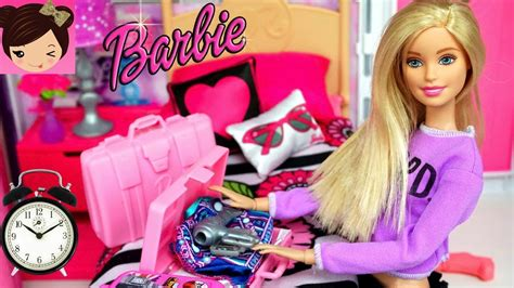 Barbie Bedroom Doll Morning Routine  Toy Grocery Store