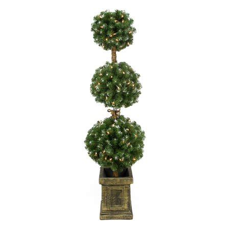pre lit frosted triple ball artificial topiary tree