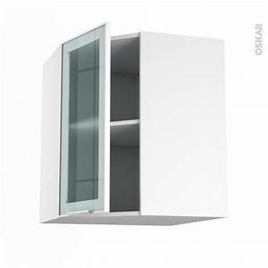 Meuble Haut Cuisine Vitré : meuble de cuisine angle haut vitr fa ade blanche alu 1 porte n 19 l40 cm l65 x h70 x p37 cm ~ Teatrodelosmanantiales.com Idées de Décoration