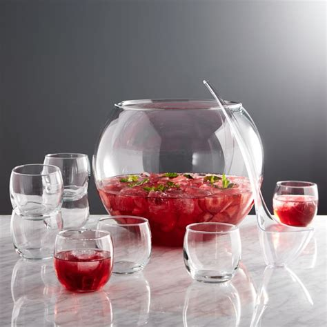 glass punch bowl set reviews crate  barrel