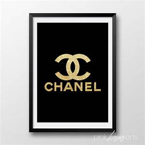 Gold chanel logo Black and gold print Coco Chanel by ...