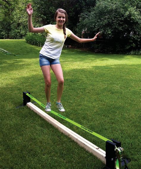 Backyard Slackline Without Trees by Slackers Slackline Rack Set This And