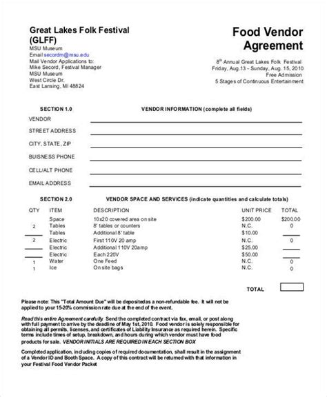 vendor agreement template business template