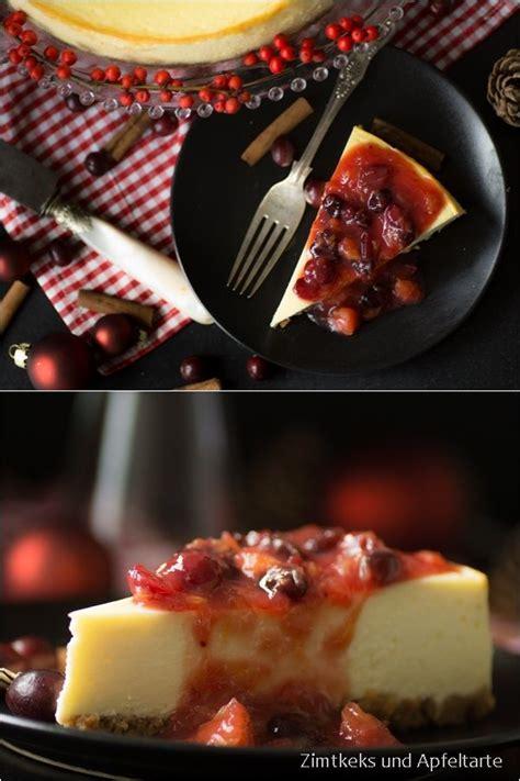 classic  york cheesecake mit orangen cranberry sauce
