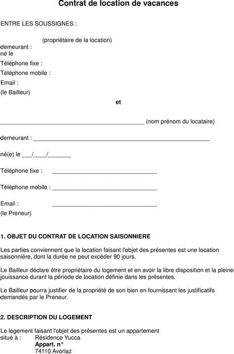 contrat location chambre contrat de location de vacances pdf
