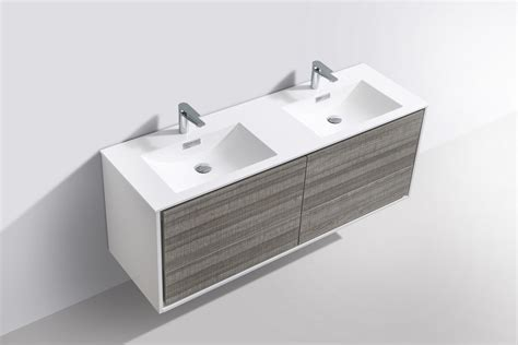 de lusso  double sink ash gray wall mount modern