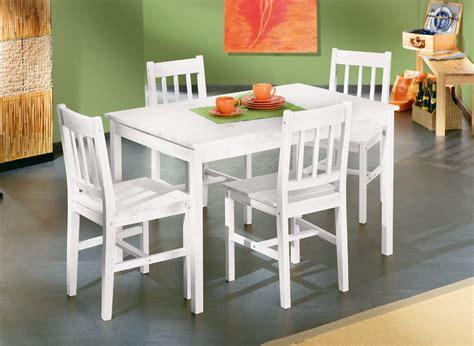 table et 4 chaises contemporain en pin massif blanc