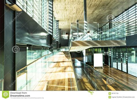 Modern Office Interior Glass Wood Sunny Stock Image