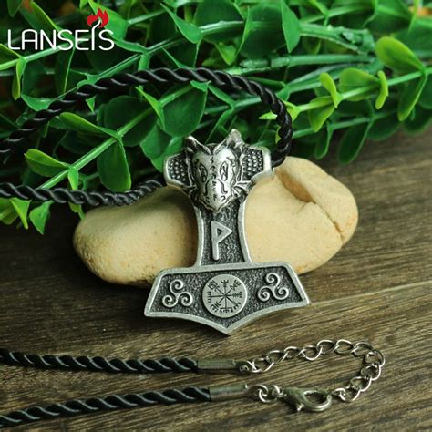 10pcs wholesale norse black dragon thor hammer pendant
