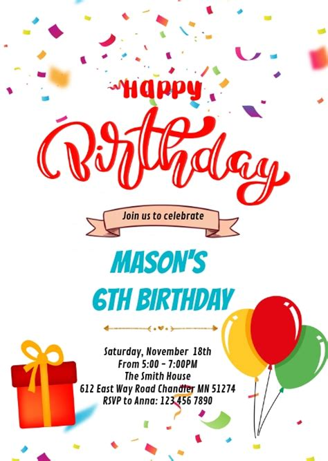 Happy birthday card invitation Template PosterMyWall