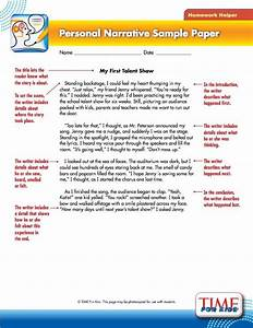 This personal narrative example is provided by Time for ...