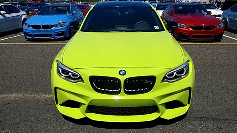 2017 white bmw m2 wrapped in lime green youtube