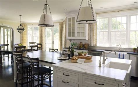 Still inspired by coffee bar design, this kitchen island extension uses recycled furniture that includes chairs and a long table. Island table extension | For the Home | Pinterest