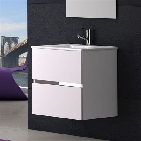 meuble salle de bain 60 cm plan vasque c 233 ramique 2 tiroirs ikaro