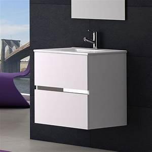 Meuble Vasque 60 : meuble salle de bain 60 cm plan vasque c ramique 2 tiroirs ikaro ~ Teatrodelosmanantiales.com Idées de Décoration