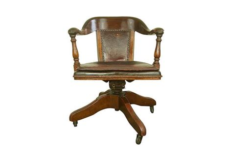 Vintage Leather Bankers Chair antique bankers chair original leather seat cushion