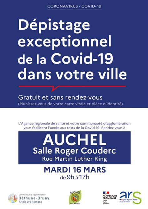 DEPISTAGE COVID-19 -MARDI 16 MARS 2021- Mairie d'Auchel