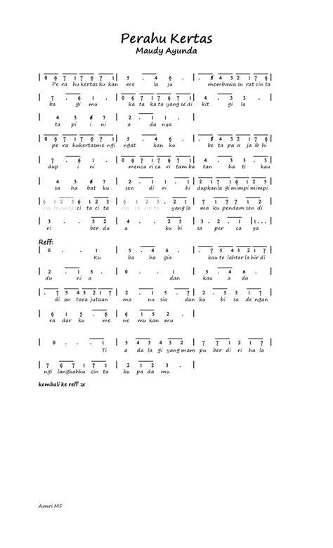 not angka lagu prahu layar kumpulan not angka not angka lagu maudy ayunda perahu