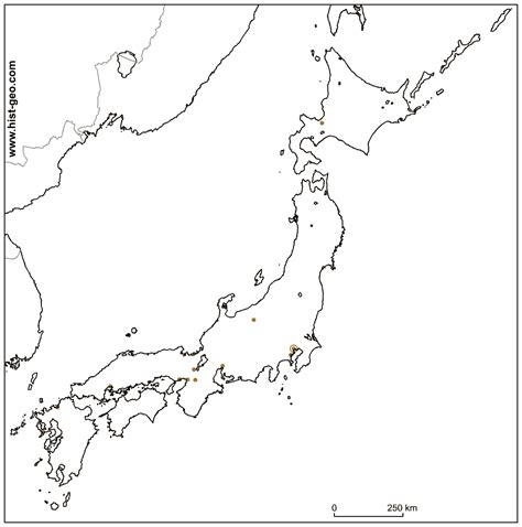 outline map  japan  main japanese cities