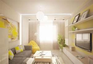 Wohnzimmer Gemütlich Gestalten : modernes wohnzimmer in gelb und grau gem tlich gestaltet ~ Lizthompson.info Haus und Dekorationen