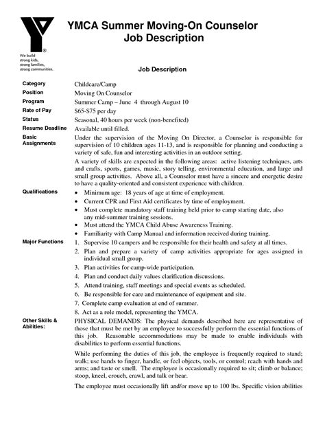 Resume For C Counselor At Ymca by C Counselor Description For Resume Free Resume Templates